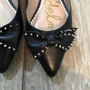 8924eedcb6a013 Sam Edelman Shoes - Sam Edelman Raisa black pointy bow stud flats 6.5